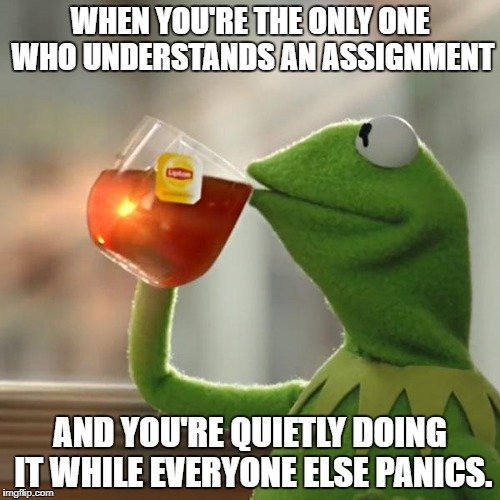 A day in the life of a nerd. | WHEN YOU'RE THE ONLY ONE WHO UNDERSTANDS AN ASSIGNMENT AND YOU'RE QUIETLY DOING IT WHILE EVERYONE ELSE PANICS. | image tagged in memes,but thats none of my business,kermit the frog,school,nerd | made w/ Imgflip meme maker