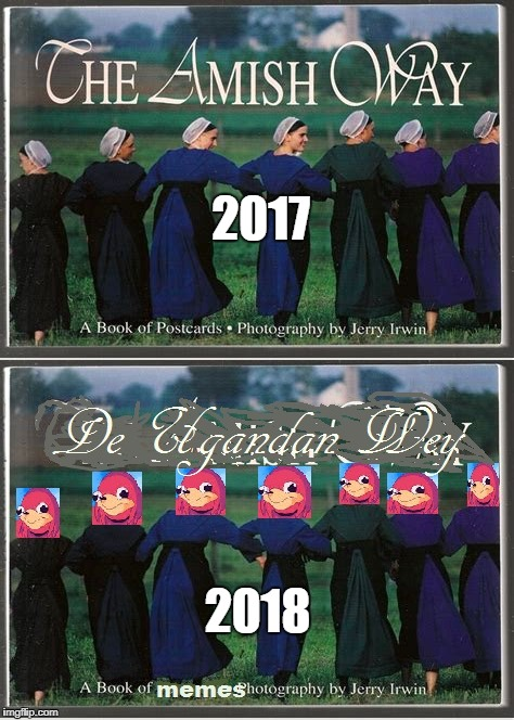 yoU mUst hAB eBolA tO kNow Deh weH AnD Find a NEw qUeEN FOr dA brUdDaS |  2017; 2018 | image tagged in do you know the way,ugandan knuckles,uganda,amish,2018,hey thats pretty good | made w/ Imgflip meme maker