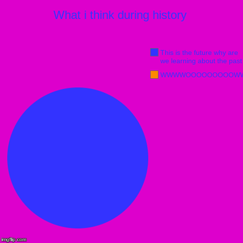 What i think during history | WWWWOOOOOOOOOWWW, This is the future why are we learning about the past | image tagged in funny,pie charts | made w/ Imgflip pie chart maker