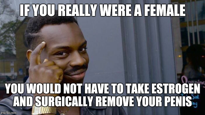 Roll Safe Think About It Meme | IF YOU REALLY WERE A FEMALE YOU WOULD NOT HAVE TO TAKE ESTROGEN AND SURGICALLY REMOVE YOUR P**IS | image tagged in memes,roll safe think about it | made w/ Imgflip meme maker