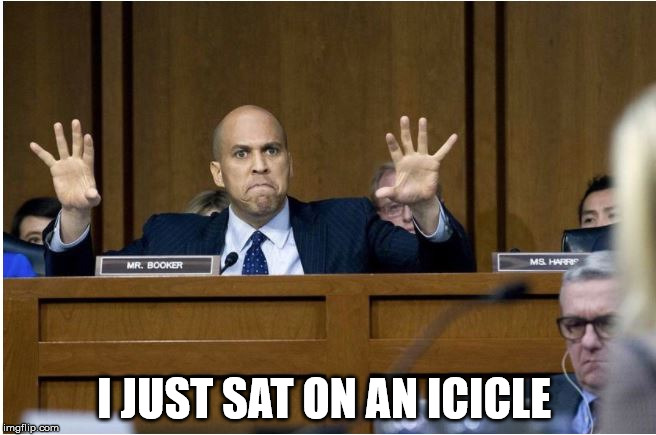 Booker on ice  | I JUST SAT ON AN ICICLE | image tagged in booker meltdown | made w/ Imgflip meme maker