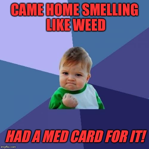Success Kid Meme | CAME HOME SMELLING LIKE WEED HAD A MED CARD FOR IT! | image tagged in memes,success kid | made w/ Imgflip meme maker