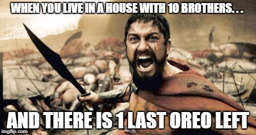 Sparta Leonidas Meme | WHEN YOU LIVE IN A HOUSE WITH 10 BROTHERS. . . AND THERE IS 1 LAST OREO LEFT | image tagged in memes,sparta leonidas | made w/ Imgflip meme maker