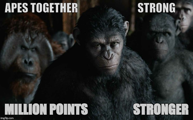 Koba Weaker,,, | APES TOGETHER                            STRONG MILLION POINTS                   STRONGER | image tagged in koba weaker | made w/ Imgflip meme maker