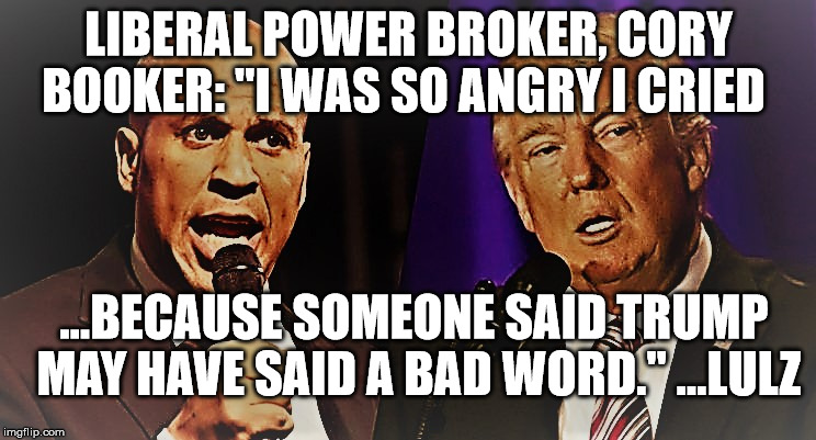 "Emotional Snowflake Cory Booker | LIBERAL POWER BROKER, CORY BOOKER: ""I WAS SO ANGRY I CRIED ...BECAUSE SOMEONE SAID TRUMP MAY HAVE SAID A BAD WORD."" ...LULZ 