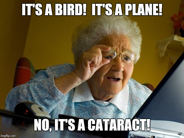 Grandma Finds The Internet Meme | IT'S A BIRD!  IT'S A PLANE! NO, IT'S A CATARACT! | image tagged in memes,grandma finds the internet | made w/ Imgflip meme maker