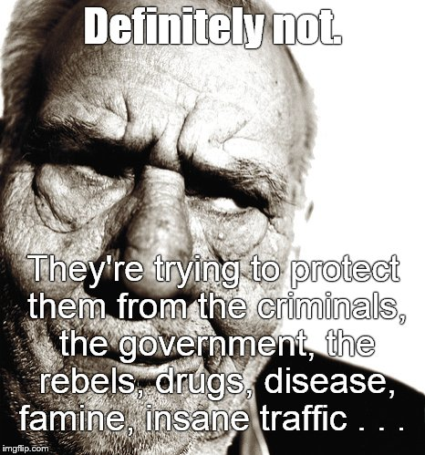 Skeptical old man | Definitely not. They're trying to protect them from the criminals, the government, the rebels, drugs, disease, famine, insane traffic . . . | image tagged in skeptical old man | made w/ Imgflip meme maker