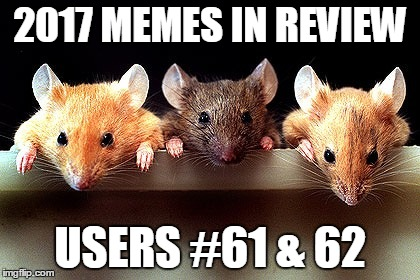 Dec.31 to Feb.1 - 2017 Memes in Review. My favorite 2017 memes from the Top 100 users on the leaderboard. | 2017 MEMES IN REVIEW USERS #61 & 62 | image tagged in 3 mice,memes,top users,wayneurso,ricky_out_loud,2017 memes in review | made w/ Imgflip meme maker