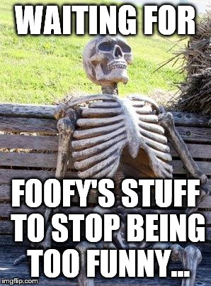 Waiting Skeleton Meme | WAITING FOR FOOFY'S STUFF TO STOP BEING TOO FUNNY... | image tagged in memes,waiting skeleton | made w/ Imgflip meme maker