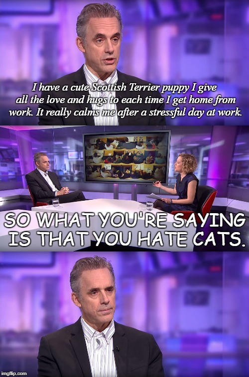 So What You're Saying Is... | I have a cute Scottish Terrier puppy I give all the love and hugs to each time I get home from work. It really calms me after a stressful da | image tagged in jordan peterson vs feminist interviewer,puppy,cats,stress,dog | made w/ Imgflip meme maker