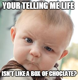 Skeptical Baby Meme | YOUR TELLING ME LIFE ISN'T LIKE A BOX OF CHOCLATE? | image tagged in memes,skeptical baby | made w/ Imgflip meme maker