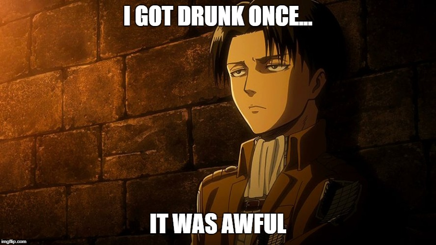 Levi's sass | I GOT DRUNK ONCE... IT WAS AWFUL | image tagged in levi's sass | made w/ Imgflip meme maker