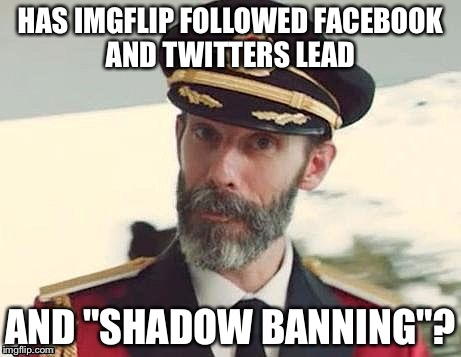 "Captain Obvious | HAS IMGFLIP FOLLOWED FACEBOOK AND TWITTERS LEAD AND ""SHADOW BANNING""? 
