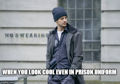 Barry at Iron Heights |  WHEN YOU LOOK COOL EVEN IN PRISON UNIFORM | image tagged in barry,barry in prison uniform,iron heights | made w/ Imgflip meme maker