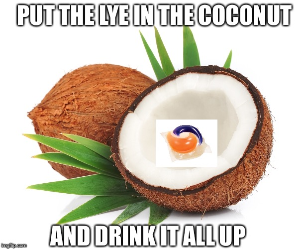 PUT THE LYE IN THE COCONUT AND DRINK IT ALL UP | image tagged in tide pods,coconut | made w/ Imgflip meme maker