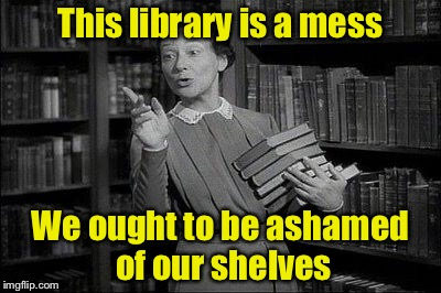 Librarian Humor |  This library is a mess; We ought to be ashamed of our shelves | image tagged in wealthy librarian,memes,bad pun,library | made w/ Imgflip meme maker