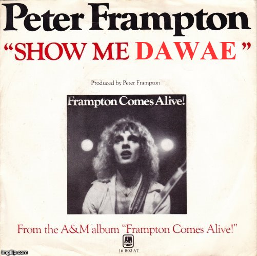 Peter Frampton wants you to ''Show Him Da Wae'' ( I don't get it but why not lol) | DAWAE | image tagged in memes,da wae,peter frampton,show me the way,music,ugandans | made w/ Imgflip meme maker