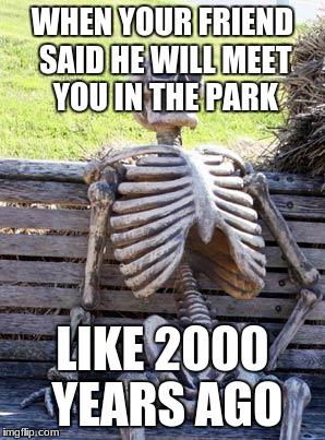 Waiting Skeleton Meme | WHEN YOUR FRIEND SAID HE WILL MEET YOU IN THE PARK LIKE 2000 YEARS AGO | image tagged in memes,waiting skeleton | made w/ Imgflip meme maker