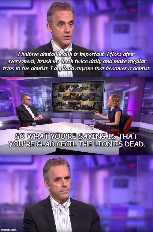 So What You're Saying Is... | I believe dental health is important. I floss after every meal, brush my teeth twice daily and make regular trips to the dentist. I applaud  | image tagged in jordan peterson vs feminist interviewer,cecil the lion,dentist,dead,brushing teeth,floss | made w/ Imgflip meme maker