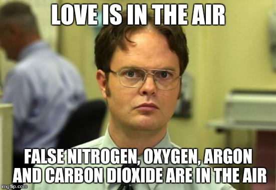 Dwight Schrute Meme | LOVE IS IN THE AIR FALSE NITROGEN, OXYGEN, ARGON AND CARBON DIOXIDE ARE IN THE AIR | image tagged in memes,dwight schrute | made w/ Imgflip meme maker