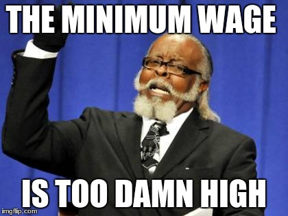 Too Damn High Meme | THE MINIMUM WAGE IS TOO DAMN HIGH | image tagged in memes,too damn high | made w/ Imgflip meme maker