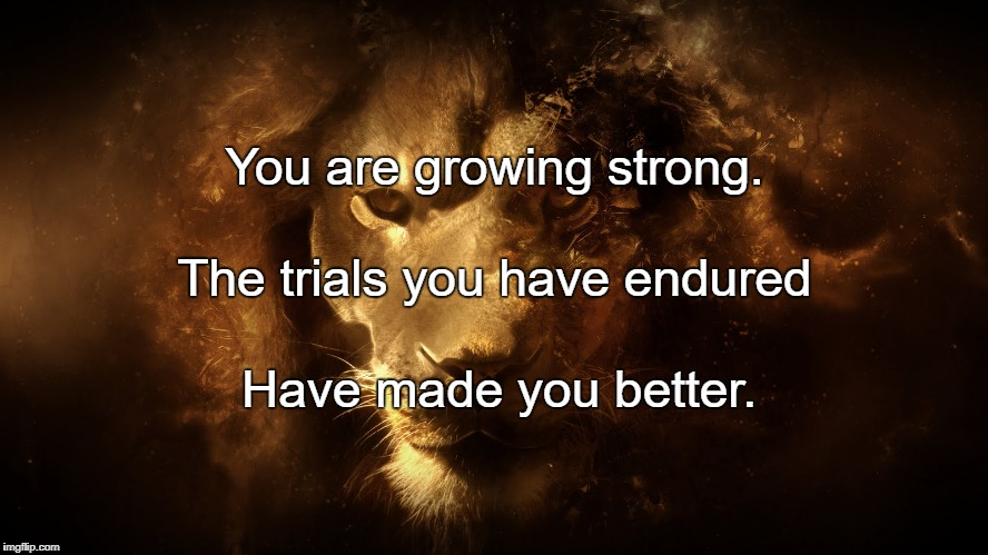 I Am Strong | You are growing strong. Have made you better. The trials you have endured | image tagged in i am strong | made w/ Imgflip meme maker