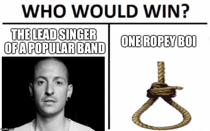 Who Would Win? |  THE LEAD SINGER OF A POPULAR BAND; ONE ROPEY BOI | image tagged in memes,who would win | made w/ Imgflip meme maker