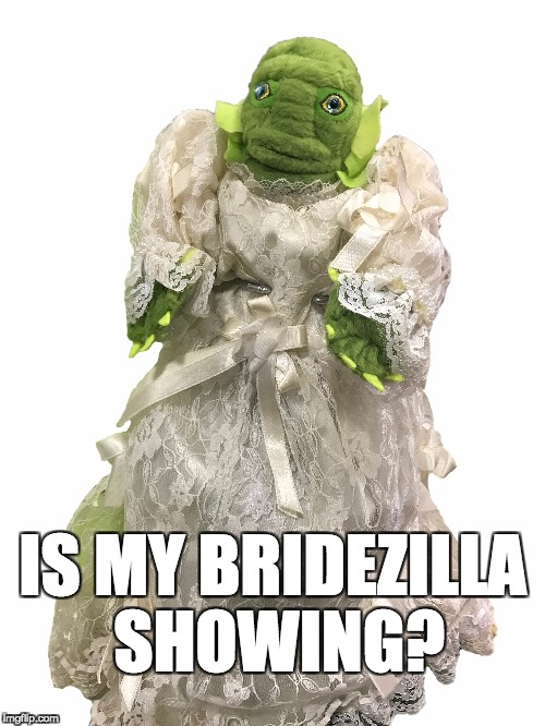 Bridezilla | IS MY BRIDEZILLA SHOWING? | image tagged in bride | made w/ Imgflip meme maker