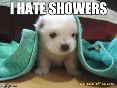 Cute puppy | I HATE SHOWERS | image tagged in cute puppy | made w/ Imgflip meme maker