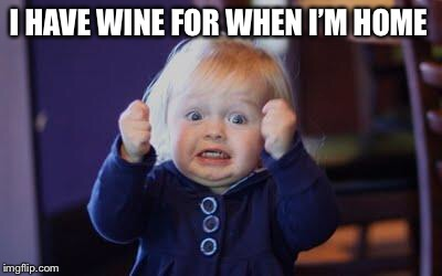 excited kid | I HAVE WINE FOR WHEN I'M HOME | image tagged in excited kid | made w/ Imgflip meme maker