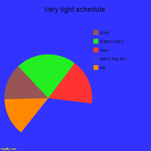 Very tight schedule | eat, watch mlp fim, xbox, dragon ball z, drink | image tagged in funny,pie charts | made w/ Imgflip chart maker