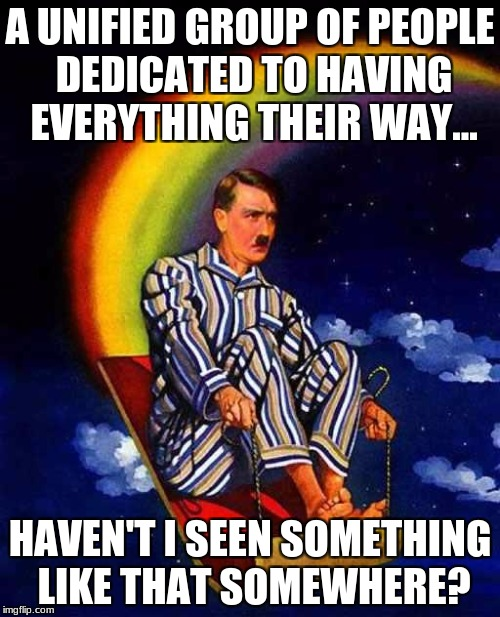 Random Hitler | A UNIFIED GROUP OF PEOPLE DEDICATED TO HAVING EVERYTHING THEIR WAY... HAVEN'T I SEEN SOMETHING LIKE THAT SOMEWHERE? | image tagged in random hitler | made w/ Imgflip meme maker