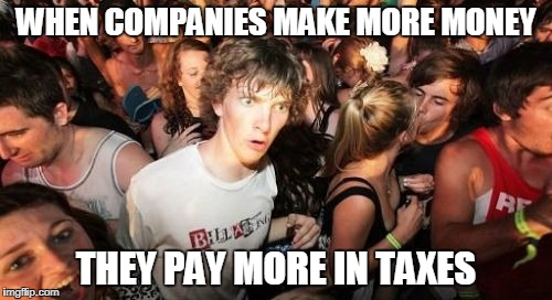 Apple is just the latest to announce more investment in America. Probably just trying to make Trump look good. | WHEN COMPANIES MAKE MORE MONEY THEY PAY MORE IN TAXES | image tagged in sudden clarity clarence,funny memes,economics,tax cuts,donald trump | made w/ Imgflip meme maker