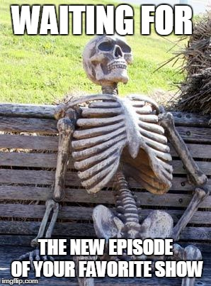 Waiting Skeleton Meme | WAITING FOR THE NEW EPISODE OF YOUR FAVORITE SHOW | image tagged in memes,waiting skeleton | made w/ Imgflip meme maker