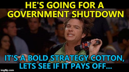 Time will tell... | HE'S GOING FOR A GOVERNMENT SHUTDOWN IT'S A BOLD STRATEGY COTTON, LETS SEE IF IT PAYS OFF... | image tagged in bold move cotton,memes,government shutdown,politics,government,trump | made w/ Imgflip meme maker