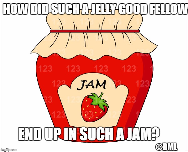 For he's a jelly good fellow! | HOW DID SUCH A JELLY GOOD FELLOW ©DML END UP IN SUCH A JAM? | image tagged in bad pun | made w/ Imgflip meme maker