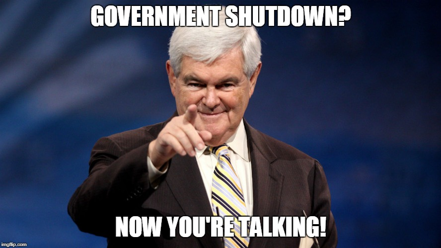 Newt Knows Government Shutdowns! | GOVERNMENT SHUTDOWN? NOW YOU'RE TALKING! | image tagged in newt gingrich,government shutdown | made w/ Imgflip meme maker