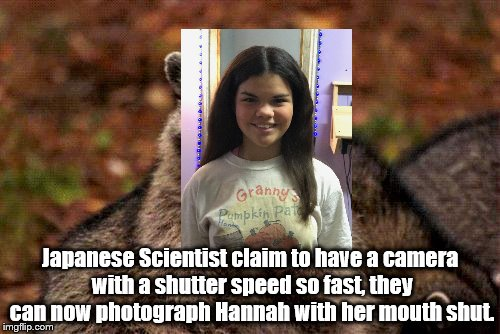 Evil Plotting Raccoon Meme | Japanese Scientist claim to have a camera with a shutter speed so fast, they can now photograph Hannah with her mouth shut. | image tagged in memes,evil plotting raccoon | made w/ Imgflip meme maker