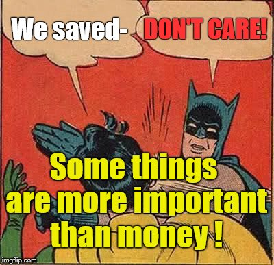 Batman Slapping Robin Meme | We saved- DON'T CARE! Some things are more important than money ! | image tagged in memes,batman slapping robin | made w/ Imgflip meme maker