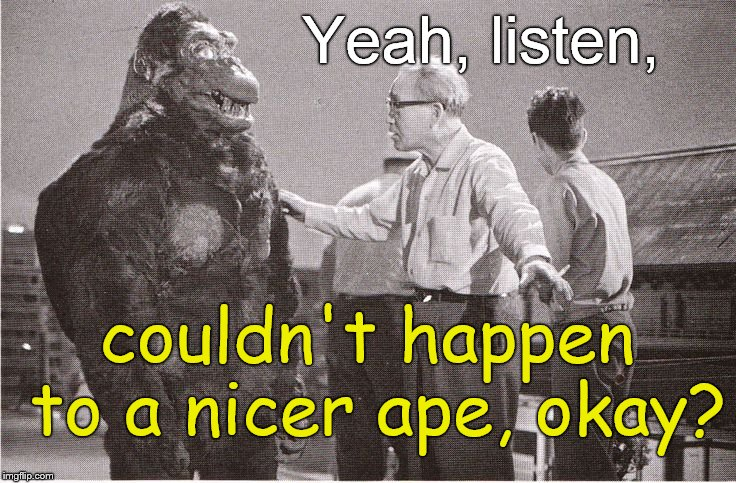 Kong with Director | Yeah, listen, couldn't happen to a nicer ape, okay? | image tagged in kong with director | made w/ Imgflip meme maker