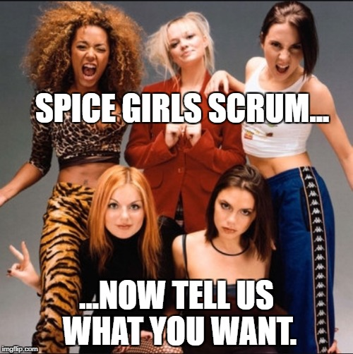 SPICE GIRLS SCRUM... ...NOW TELL US WHAT YOU WANT. | image tagged in spice girls | made w/ Imgflip meme maker