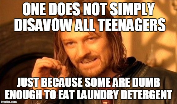 One Does Not Simply Meme | ONE DOES NOT SIMPLY DISAVOW ALL TEENAGERS JUST BECAUSE SOME ARE DUMB ENOUGH TO EAT LAUNDRY DETERGENT | image tagged in memes,one does not simply | made w/ Imgflip meme maker