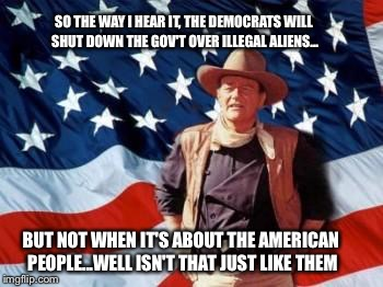 John Wayne American Flag | SO THE WAY I HEAR IT, THE DEMOCRATS WILL SHUT DOWN THE GOV'T OVER ILLEGAL ALIENS... BUT NOT WHEN IT'S ABOUT THE AMERICAN PEOPLE...WELL ISN'T | image tagged in john wayne american flag | made w/ Imgflip meme maker