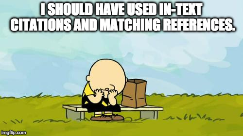 Depressed Charlie Brown | I SHOULD HAVE USED IN-TEXT CITATIONS AND MATCHING REFERENCES. | image tagged in depressed charlie brown | made w/ Imgflip meme maker