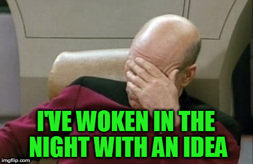 Captain Picard Facepalm Meme | I'VE WOKEN IN THE NIGHT WITH AN IDEA | image tagged in memes,captain picard facepalm | made w/ Imgflip meme maker