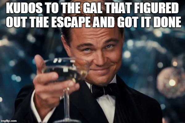Leonardo Dicaprio Cheers Meme | KUDOS TO THE GAL THAT FIGURED OUT THE ESCAPE AND GOT IT DONE | image tagged in memes,leonardo dicaprio cheers | made w/ Imgflip meme maker