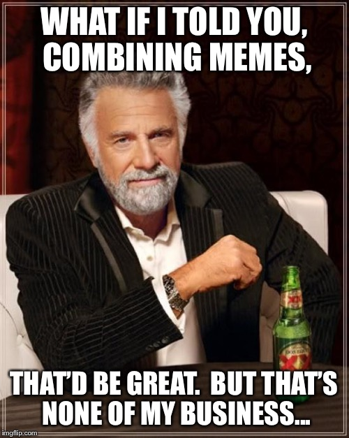 The Most Interesting Man In The World Meme | WHAT IF I TOLD YOU, COMBINING MEMES, THAT'D BE GREAT.  BUT THAT'S NONE OF MY BUSINESS... | image tagged in memes,the most interesting man in the world | made w/ Imgflip meme maker