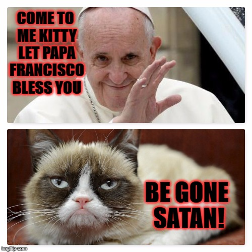 COME TO ME KITTY LET PAPA FRANCISCO BLESS YOU BE GONE SATAN! | image tagged in grumpy vs pope | made w/ Imgflip meme maker