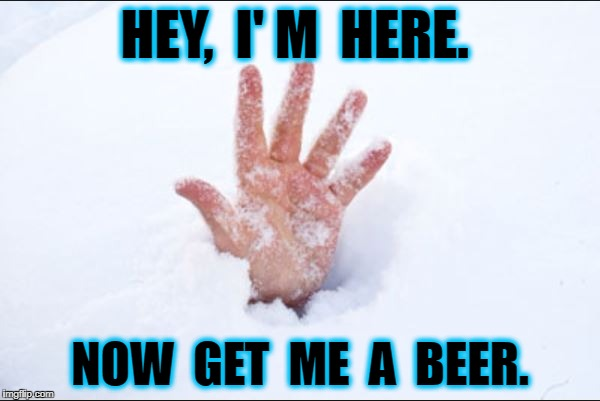 HEY,  I' M  HERE. NOW  GET  ME  A  BEER. | image tagged in snow buried | made w/ Imgflip meme maker