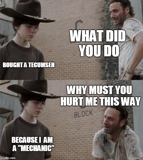 "Rick and Carl | WHAT DID YOU DO BOUGHT A TECUMSEH WHY MUST YOU HURT ME THIS WAY BECAUSE I  AM  A ""MECHANIC"" 